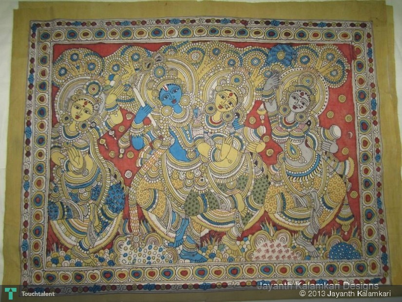 Pen Kalamkari Wall Hanging Lord Krishna Gopikalu Crafts Jayanth Kalamkari Designs Touchtalent