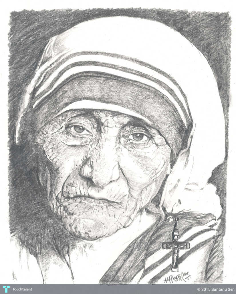 Pencil sketch mother teresa in sketching by santanu sen