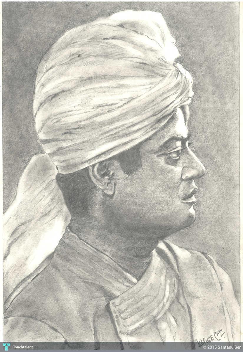 Pencil sketch swami vivekananda in painting by santanu sen