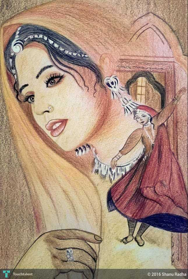 pencil color drawing in painting by shanu radha - Color Drawing Pictures
