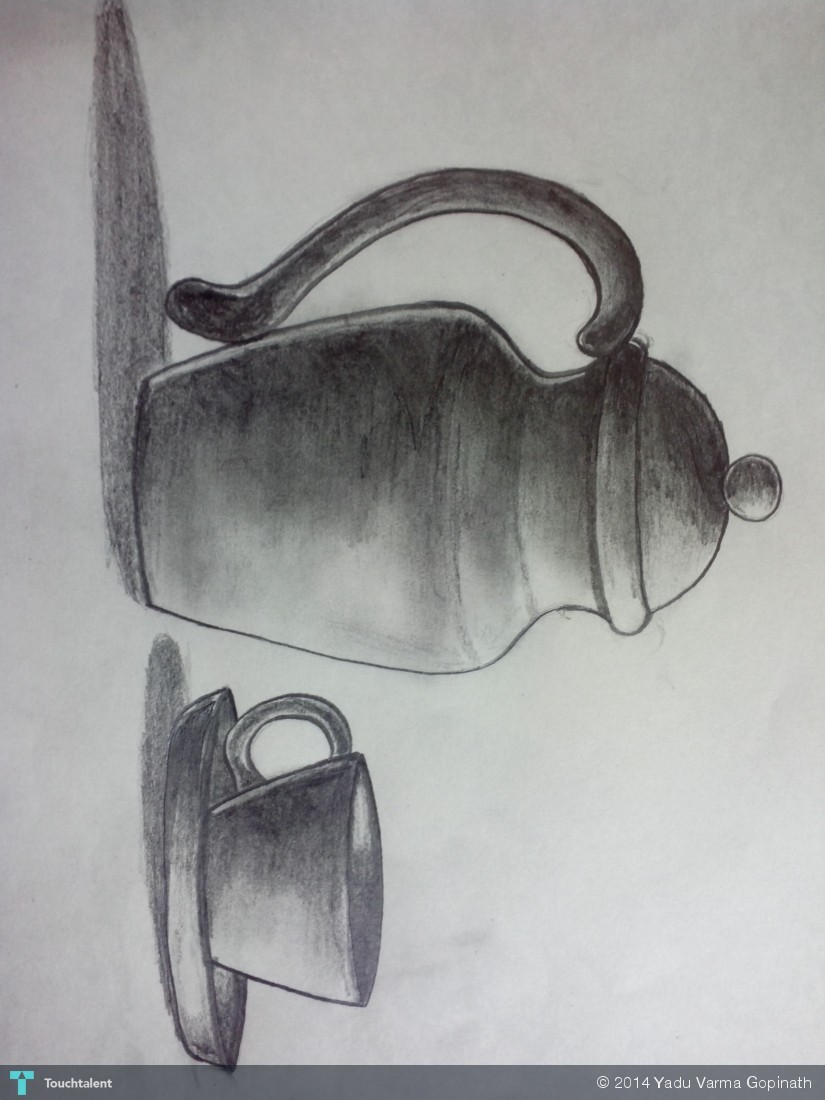 Pencil shading of jug and cup in sketching by yadu varma gopinath