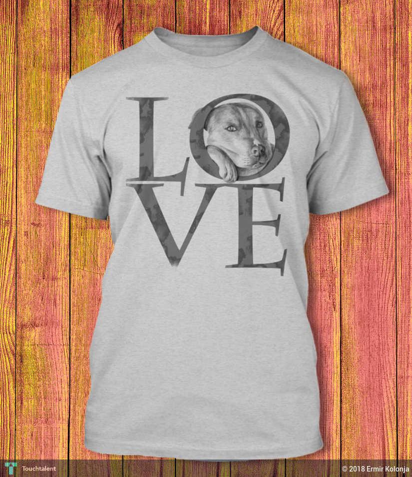 Pitbull Drawing T-Shirt, Love Pitbull Shirt For Pitbull