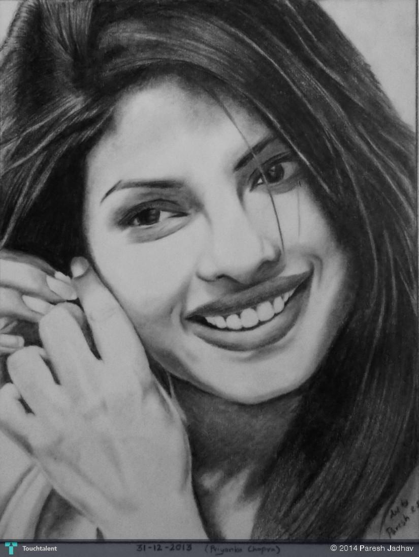 Priyanka chopra pencil sketch in sketching by paresh jadhav
