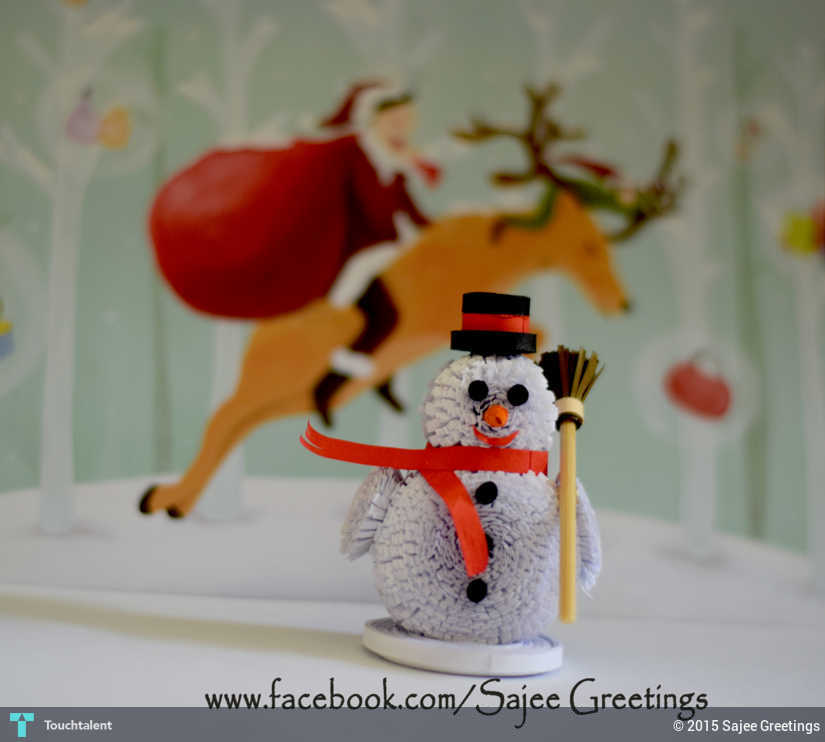 Quilling Snow Man Crafts Sajee Greetings Touchtalent