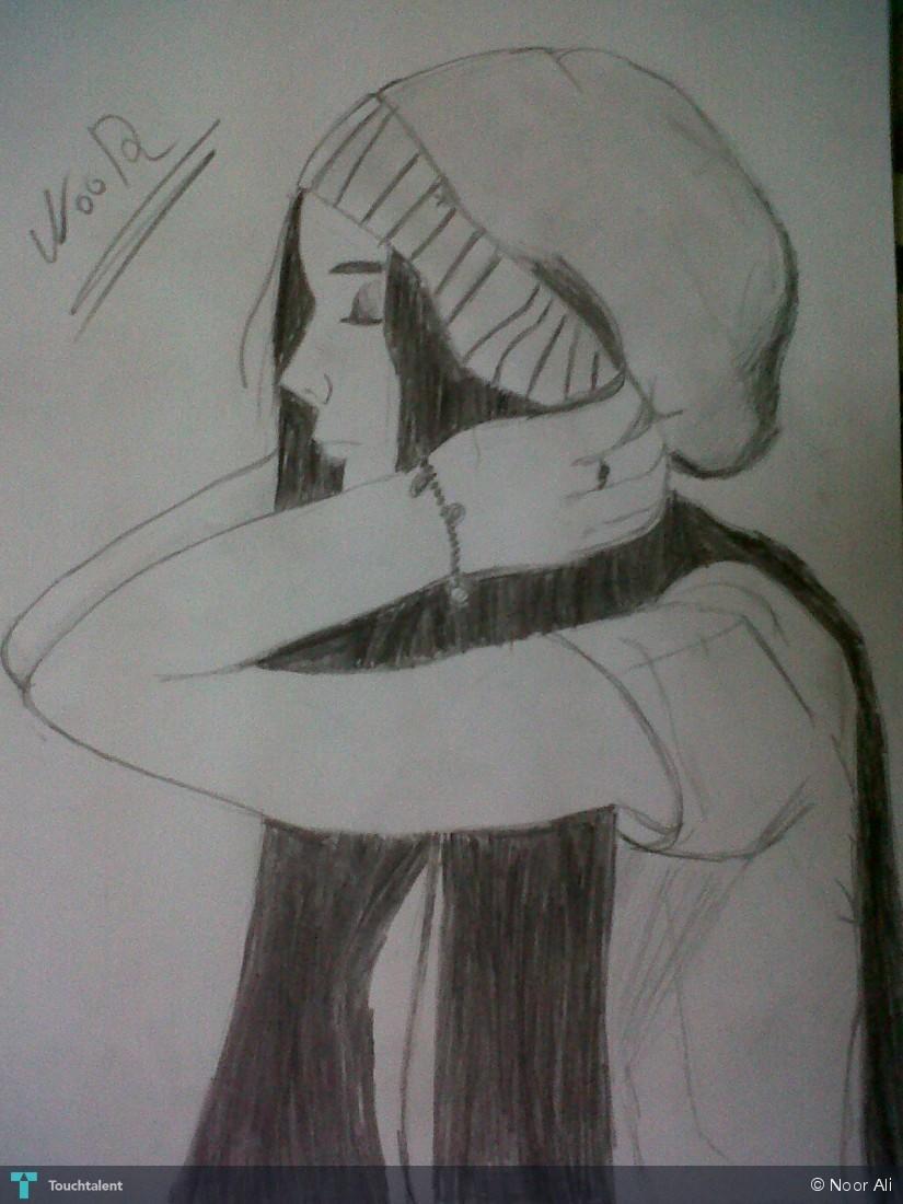 Sad girl in sketching by nouran ali