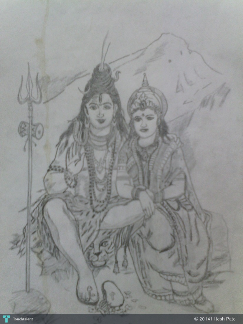 Pencil Sketch Of Shiv Parivar