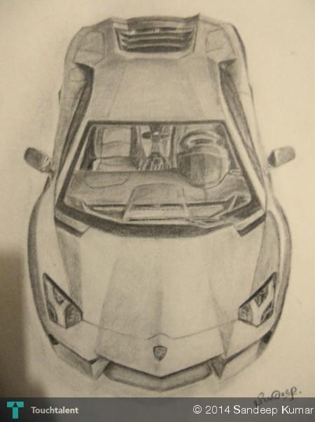 Sketch Of Lamborghini Aventador By Sandeep Kumar ...