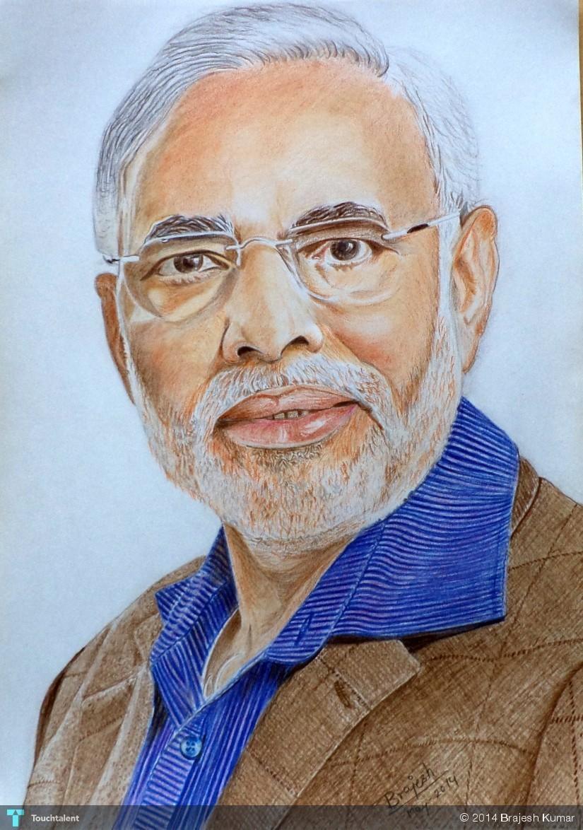 The Man Of Vision: Narendra Modi in Sketching