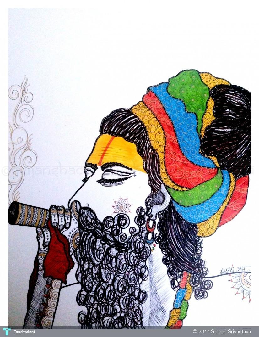 The Smoking Sadhu - Sketching | Shachi Srivastava ...