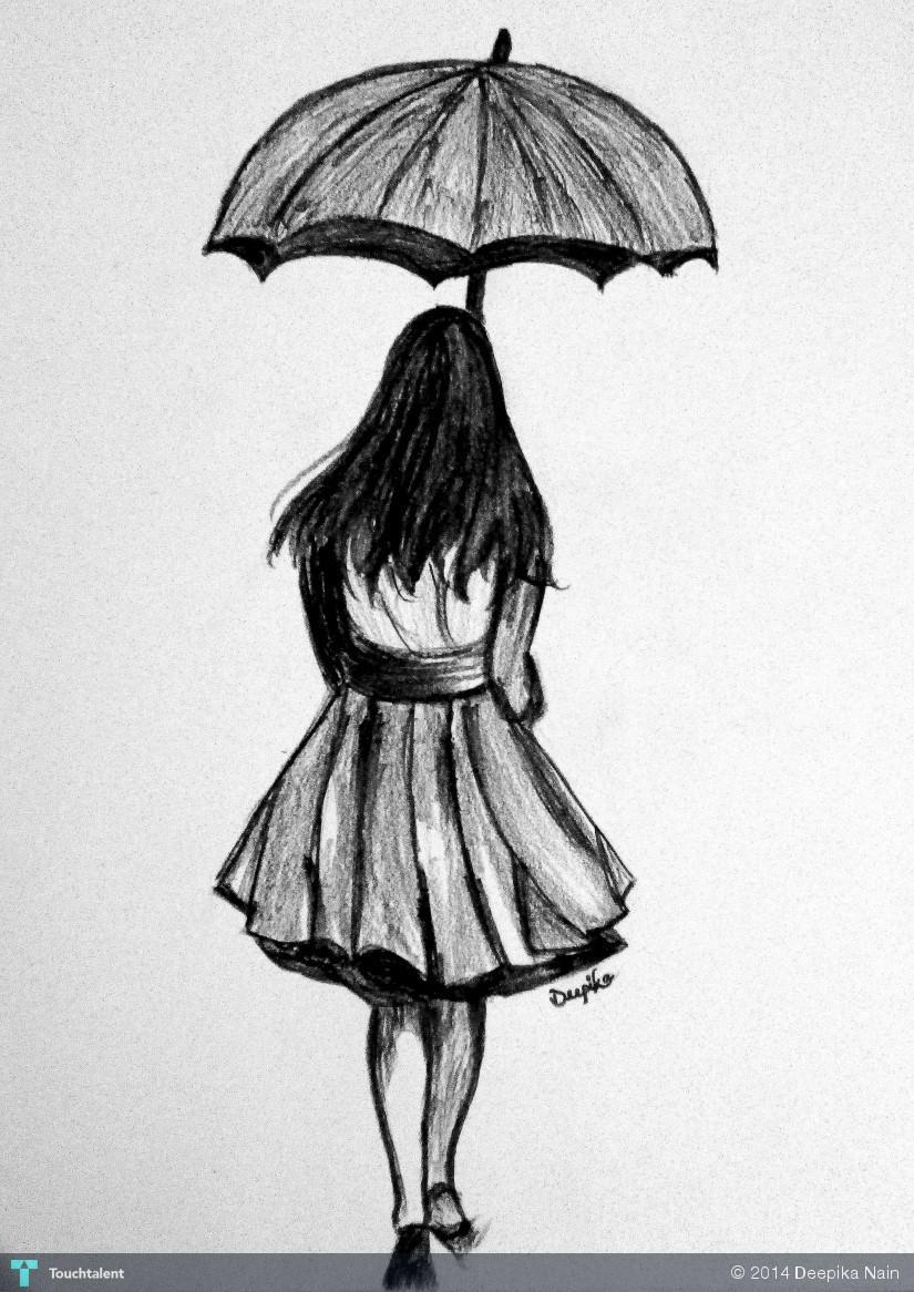 The umbrella girl in sketching by deepika nain