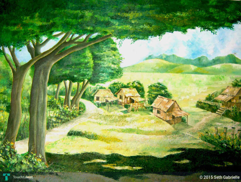Typical Philippine Bahay Kubo Oil On Canvas Size 24 X 32