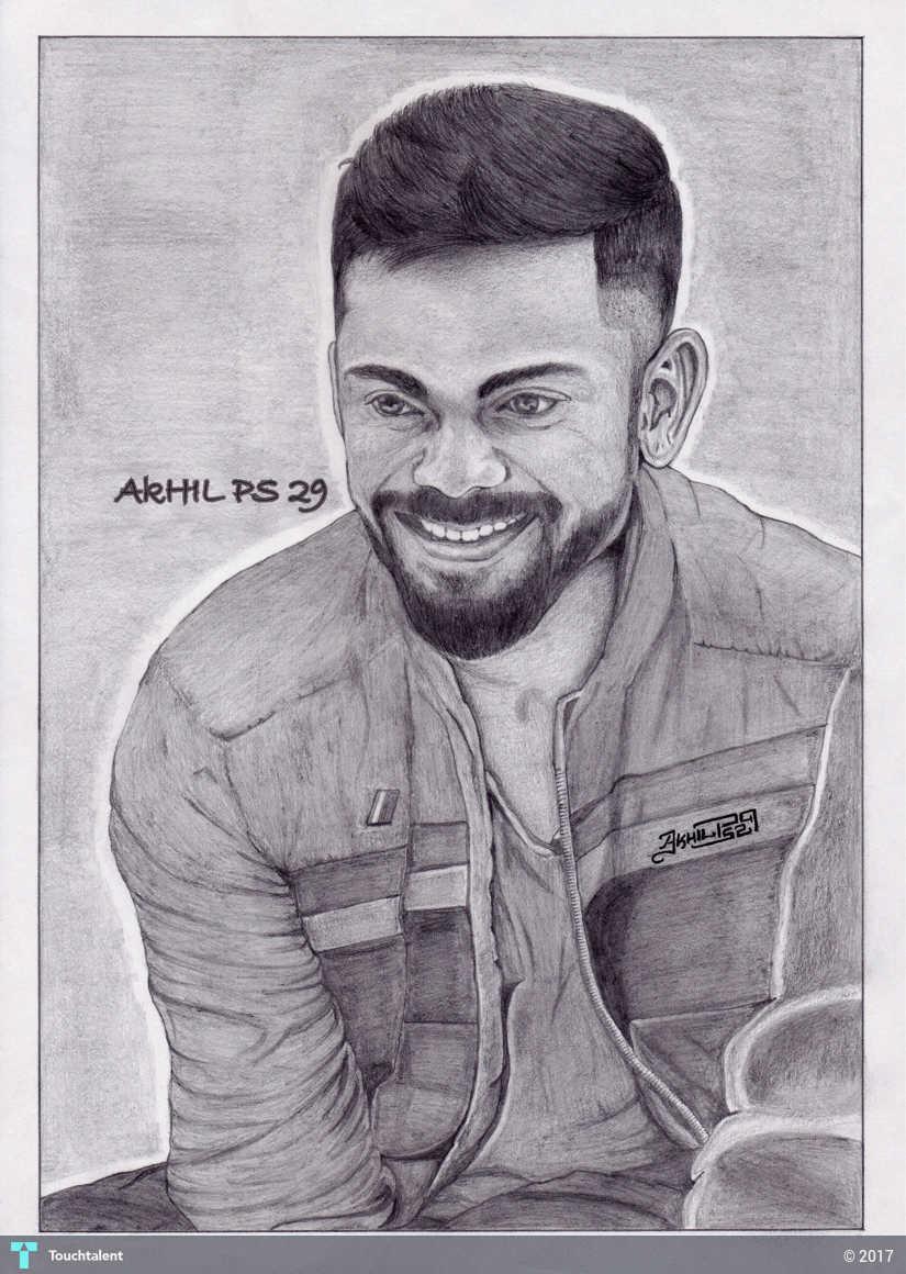 Pencil sketch of virat kohli in sketching by akhil ps 29