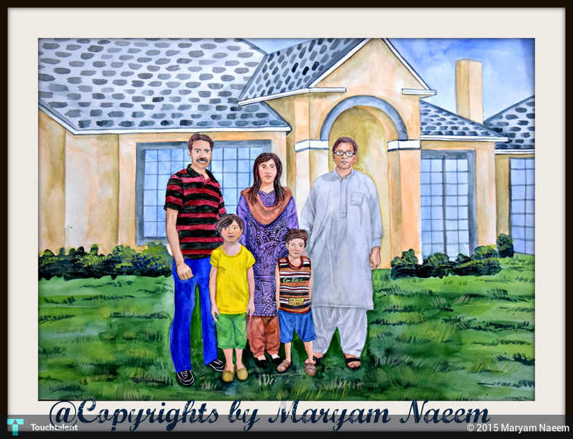 Zaras Family Standing In Front Of Their House Painting By Maryam Naeem
