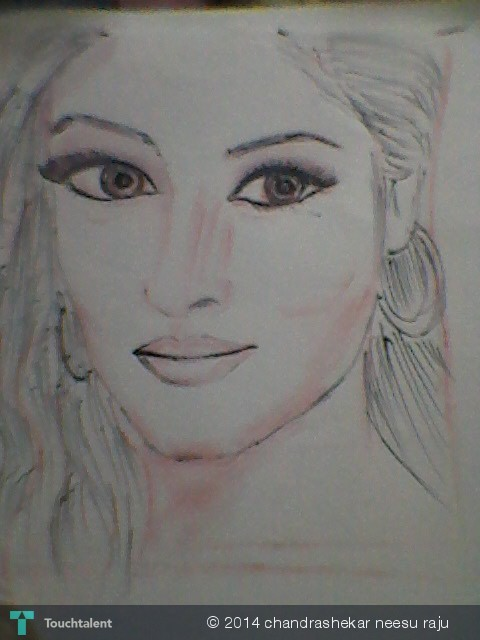 A girls face an art with pencil and sketch pen in sketching by chandrashekar neesu