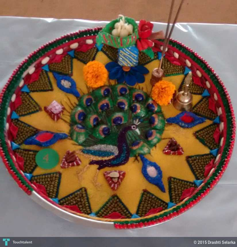 Aarti thali decoration crafts drashti selarka for Aarti thali decoration with pulses