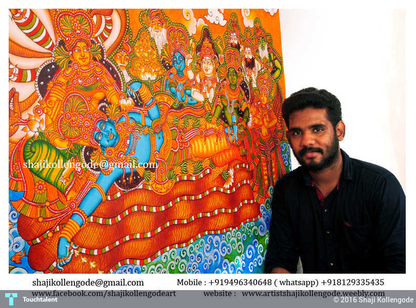 Ananthasayanam kerala mural painting painting shaji for Buy kerala mural paintings online