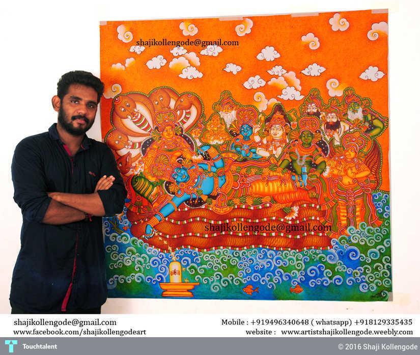 Ananthasayanam kerala mural painting painting shaji for Ananthasayanam mural painting