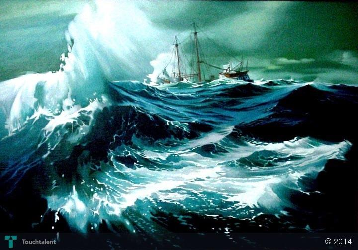 Angry Sea  Oil Painting 48x60 Zulfikar
