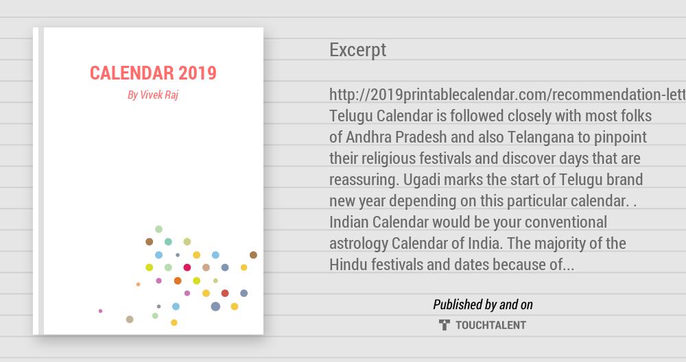 Calendar 2019 - Calligraphy   Vivek Raj   Touchtalent