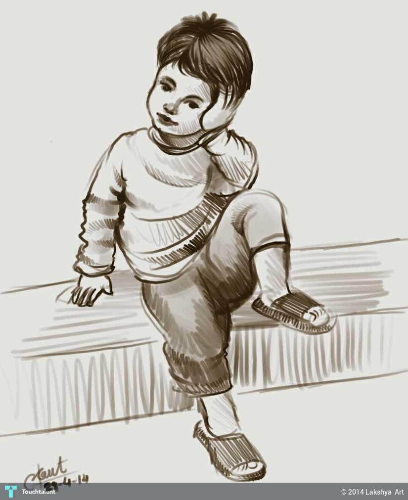 Cute boy in sketching by lakshya art