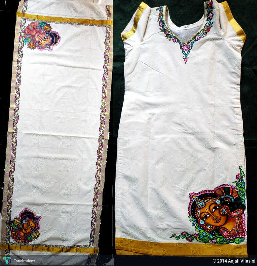 Fabric painting on kurtha with dupatta painting anjali for Aithihya mural painting fabrics