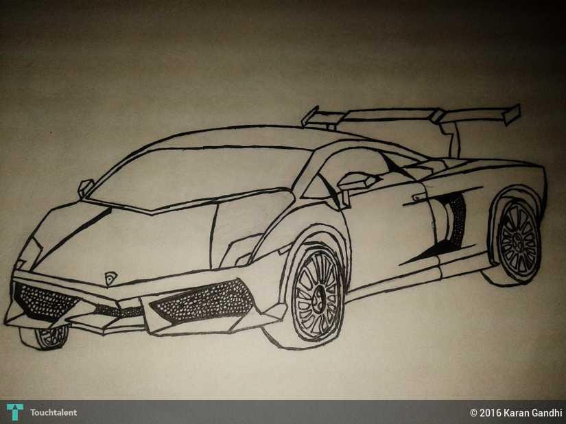 Lamborghini Aventador My Dream Car In Sketching By Karan Gandhi