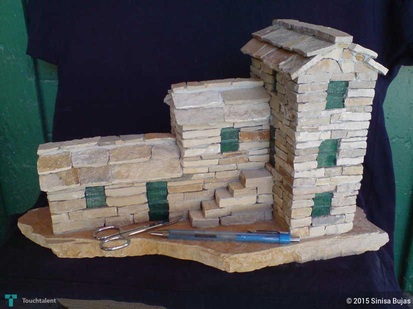 miniature stone house stairs   crafts sinisa bujas