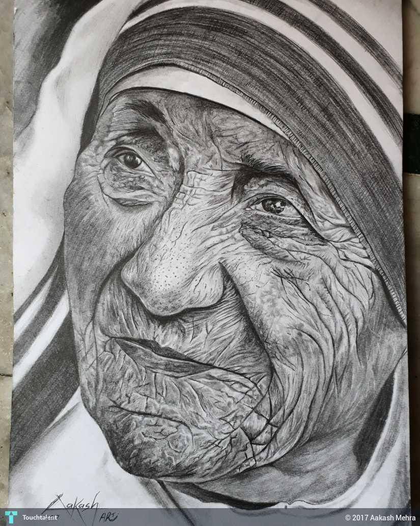 Mother teresa pencil sketch in sketching by aakash mehra