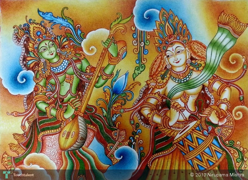 Music from devine world painting nirupama mishra for A mural is painted on a
