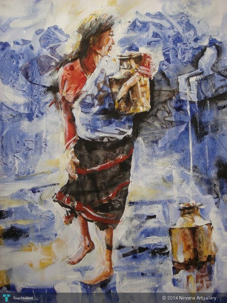 Http Www Touchtalent Com Painting Art Nepali Woman Art 296419