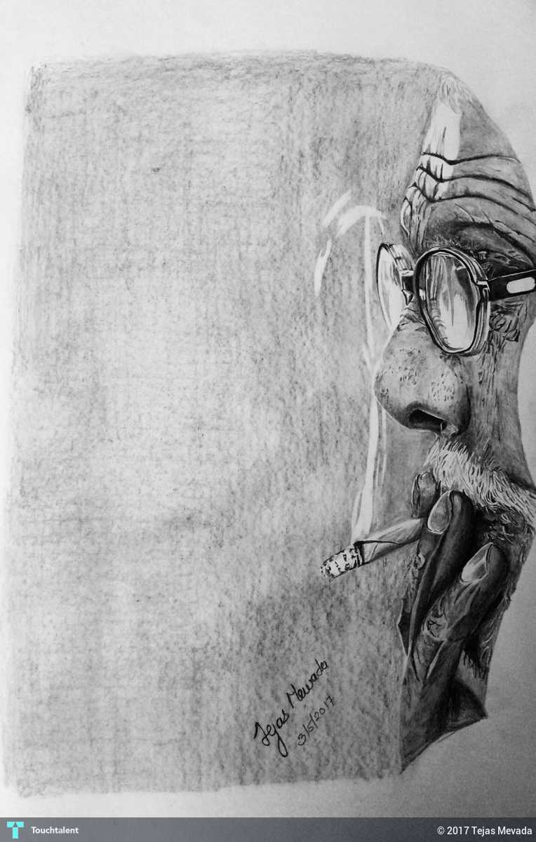 Old man smoking realistic pencil drawing touchtalent
