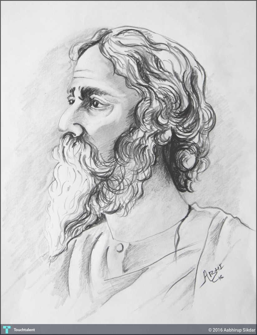Rabindranath tagore art by abhirup sikdar in sketching by aabhirup sikdar