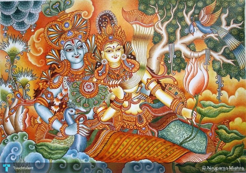 Radha krishna painting nirupama mishra touchtalent for Mural glass painting