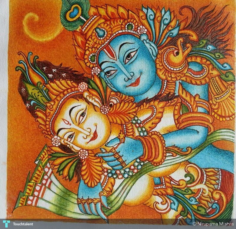 Radhe krishna painting nirupama mishra touchtalent for A mural is painted on a