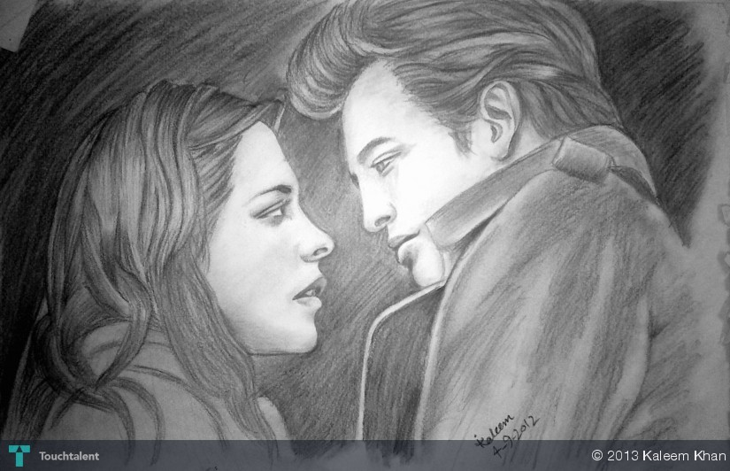 Twilight actor and actress pencil sketch in sketching by kaleem khan