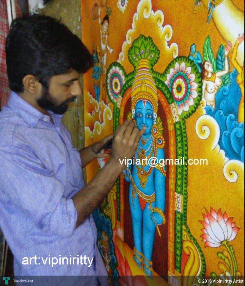 Unnikannan guruvayur krishnan vipin iritty painting on for Asha mural painting guruvayur