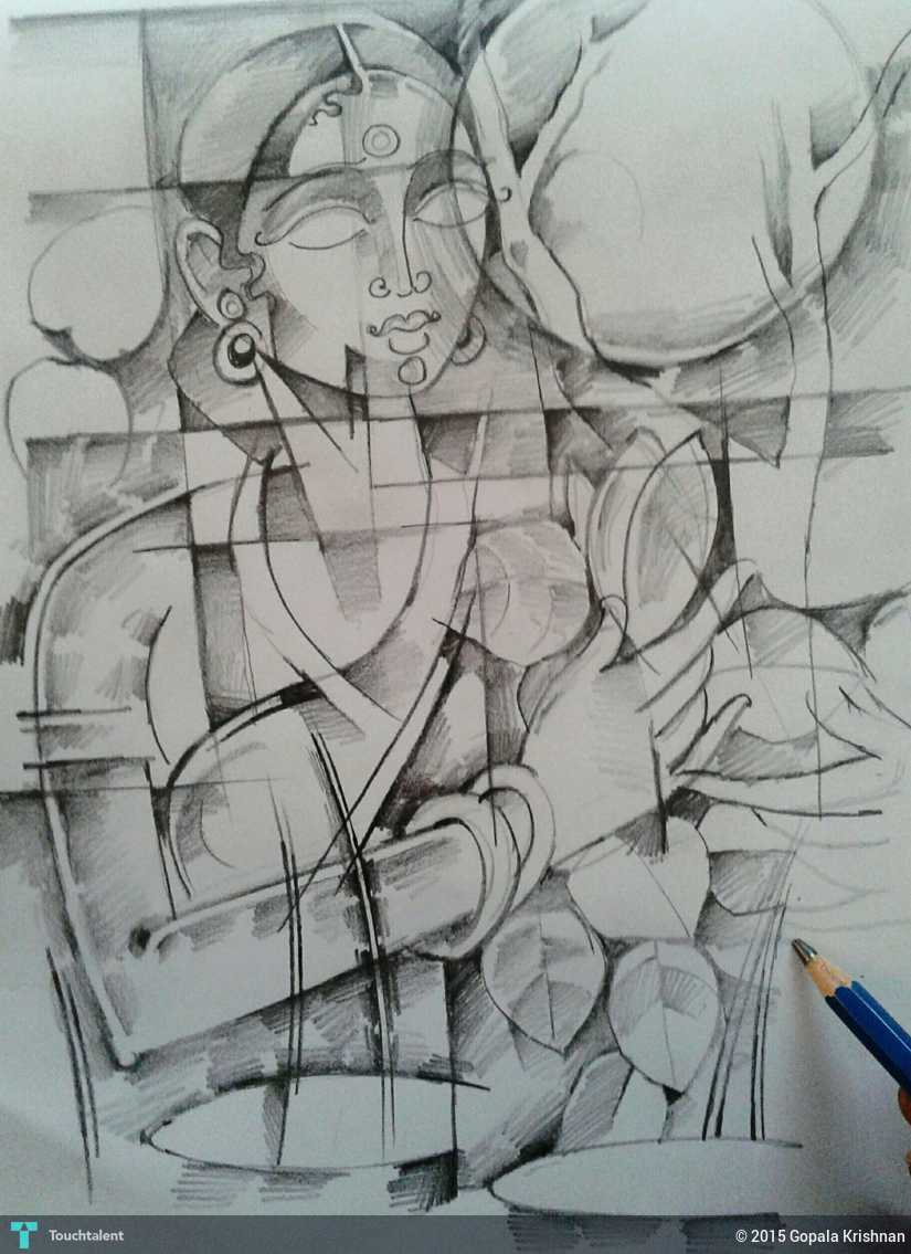 Village woman pencil art in sketching by gopala krishnan