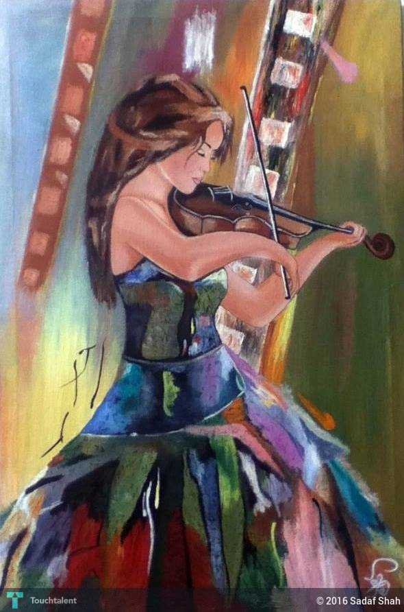Violin Girl Painting By : Sadaf Shah | Touchtalent - For